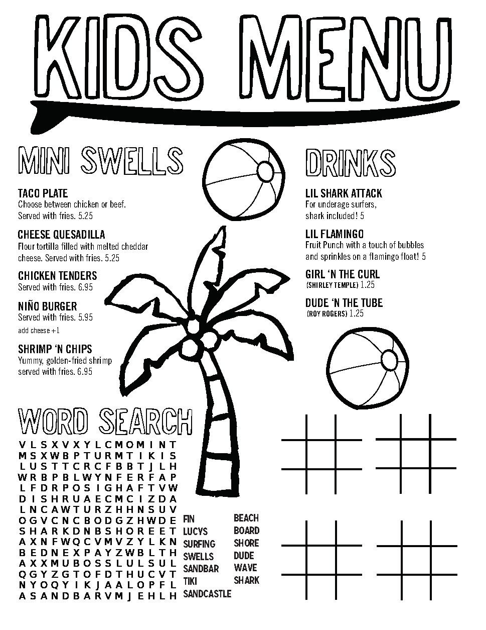 Lucy's Kid's Food Menu