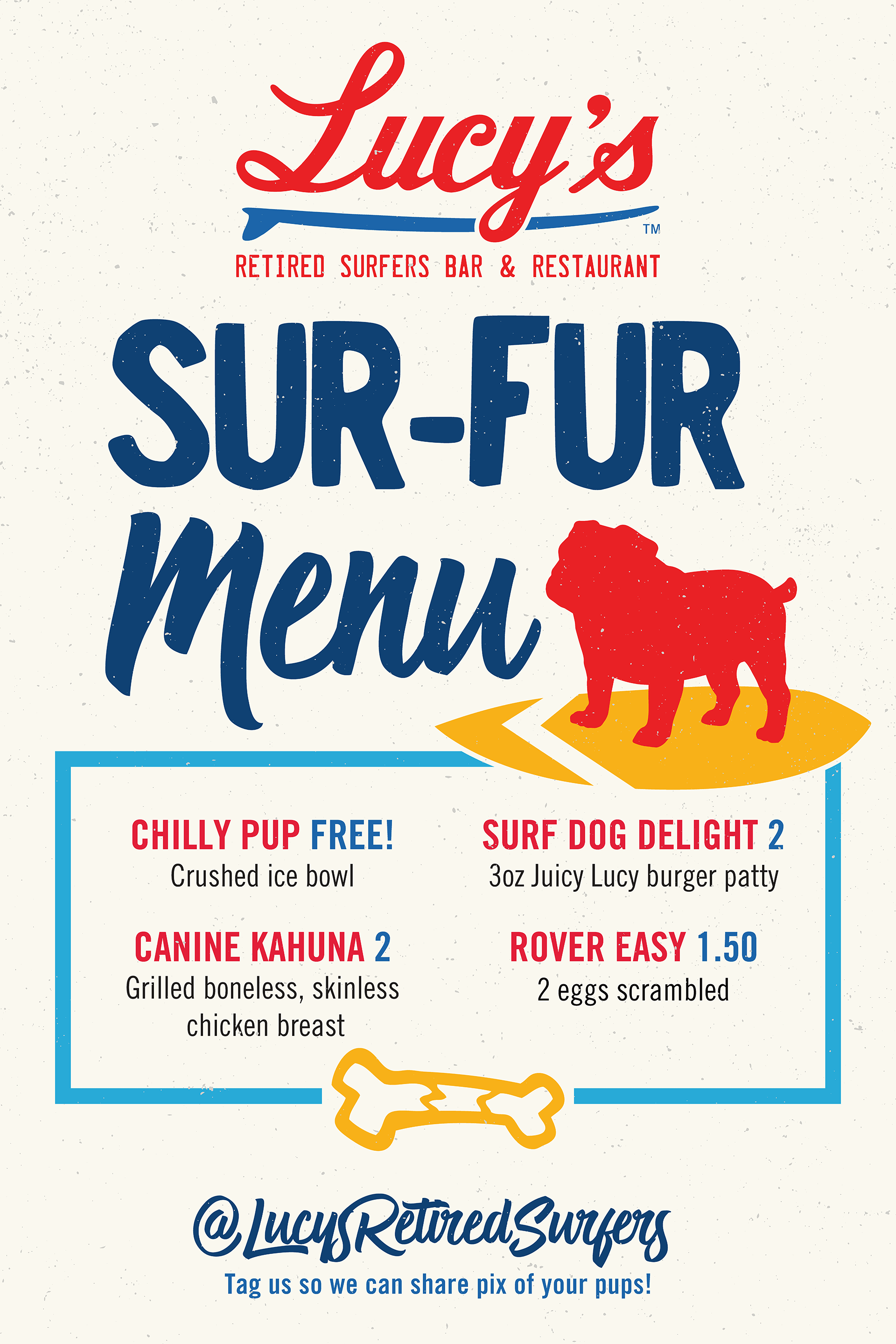 Lucy's Sur-Fur Dog Food Menu